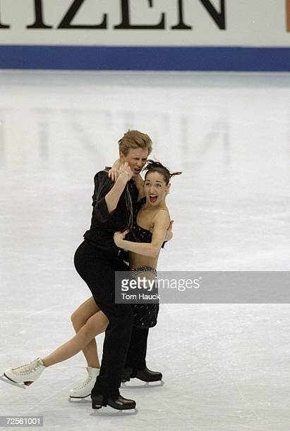 Anjelika Krylova/Rus skates with partner Oleg Ovsyannikov/Rus in the Ice Dancing competion during the World Figure Skating Championships at Target...