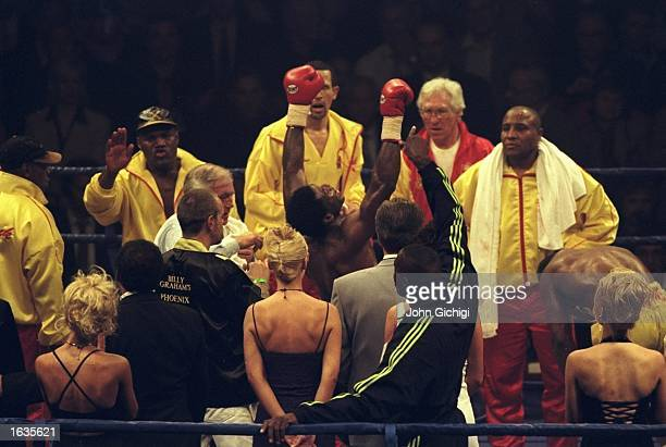 Carl Thompson celebrates his victory over Chris Eubank during the WBO Cruiserweight fight held at the Manchester Arena Manchester England Carl...