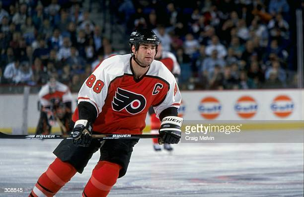 Center Eric Lindros of the Philadelphia Flyers in action during a game against the Buffalo Sabres at the Marine Midland Arena in Buffalo New York The...