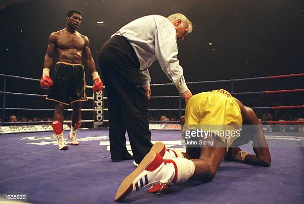 Chris Eubank is floored by opponent Carl Thompson during the WBO Cruiserweight fight held at the Manchester Arena Manchester England Carl Thompson...