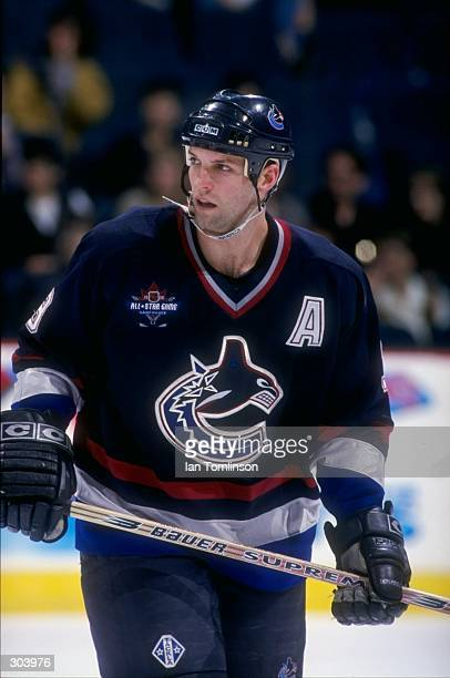 Defenseman Bret Hedican of the Vancouver Canucks in action during a game against the Calgary Flames at the Canadian Airlines Saddledome in Calgary...