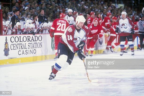 Defenseman Jon Klemm of the Colorado Avalanche in action during a game against the Detroit Red Wings at the McNichols Arena in Denver Colorado The...