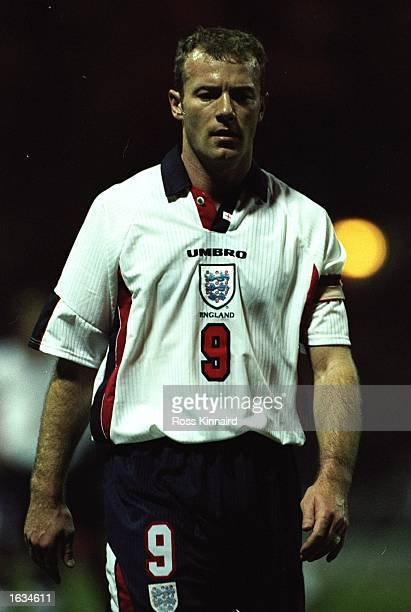 England captain Alan Shearer during the International Friendly game against Portugal at Wembley in London Shearer scored twice as England won 30...