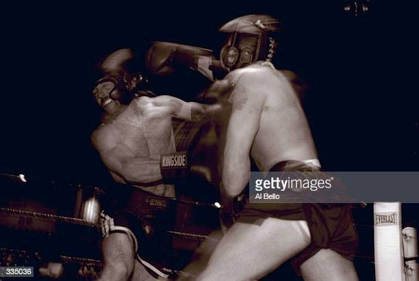 General view of two competitors in action during the Toughman Contest in Kalamazoo, Michigan. Mandatory Credit: Al Bello /Allsport