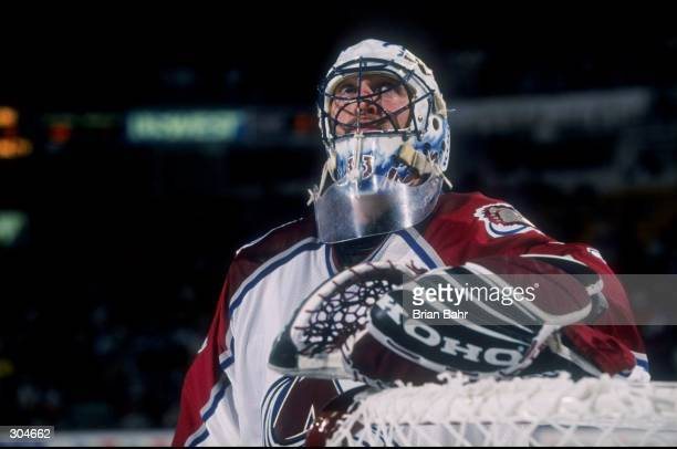 Goaltender Patrick Roy of the Colorado Avalanche in action during the playoffs round 1 game 2 against the Edmonton Oilers at the Nichols Sports Arena...