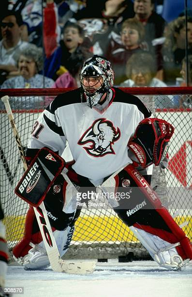 Goaltender Steve Shields of the Buffalo Sabres in action during a game against the Philadelphia Flyers at the Marine Midland Center in Buffalo New...