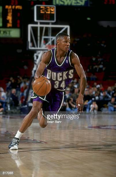 Guard Ray Allen of the Milwaukee Bucks in action against the Denver Nuggets during a game at the McNichols Sports Arena in Denver Colorado The Bucks...