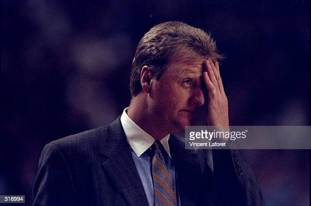 Head coach Larry Bird of the Indiana Pacers looks on during an NBA playoff game against the Cleveland Cavaliers at the Market Square Arena in...