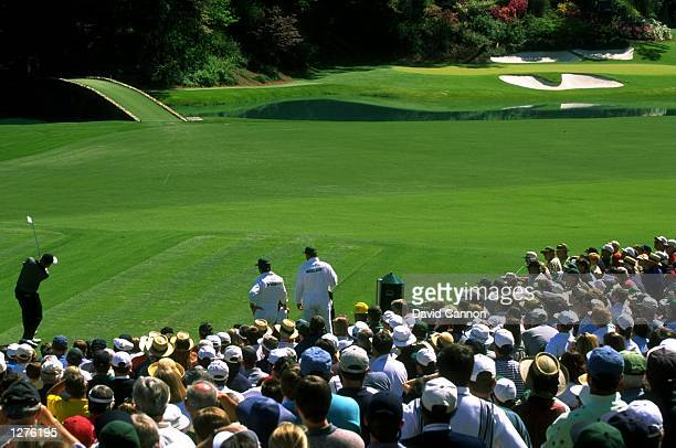Jack Nicklaus of the USA plays a shot at the 12th Hole during the US Masters at Augusta National Golf Club in Georgia, USA. \ Mandatory Credit: David...