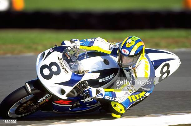 James Whitham of Great Britain leans into a corner on his Suzuki during the World Superbike Championships at Donington Park in Castle Donington,...