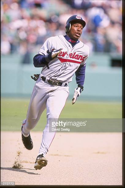 Kenny Lofton of the Cleveland Indians in action during a game against the Boston Red Sox at Fenway Park in Boston Massachusetts The Indians defeated...