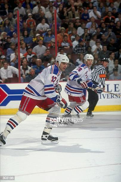Left wing Kevin Stevens of the New York Rangers in action during a game against the Philadelphia Flyers at the Corestates Center in Philadelphia...