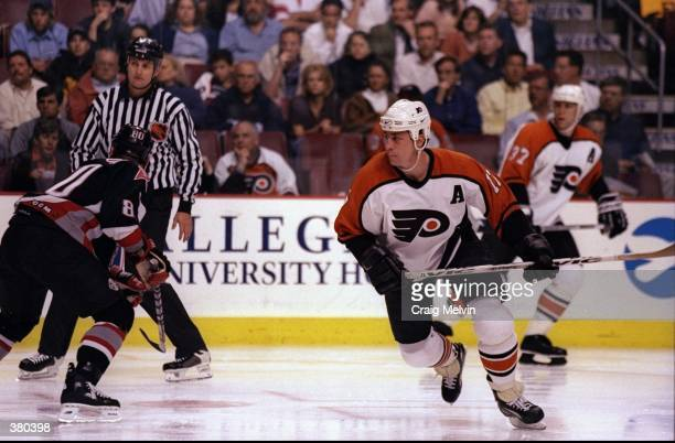 Left wing Rod Brind''Amour of the Philadelphia Flyers in action during a playoff game against the Buffalo Sabres at the Marine Midland Arena in...