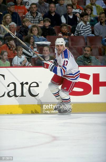 Leftwinger Kevin Stevens of the New York Rangers in action during a game against the Philadelphia Flyers at the Corestates Center in Philadelphia...