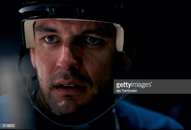 Leftwinger Stephane Matteau of the San Jose Sharks in action during a game against the Calgary Flames at the Canadian Airlines Saddledome in Calgary...