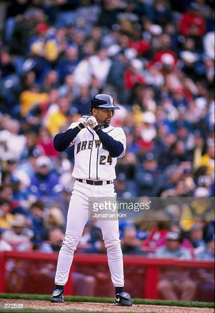 Outfielder Darrin Jackson of the Milwaukee Brewers in action during a game against the Montreal Expos at County Stadium in Milwaukee Wisconsin The...