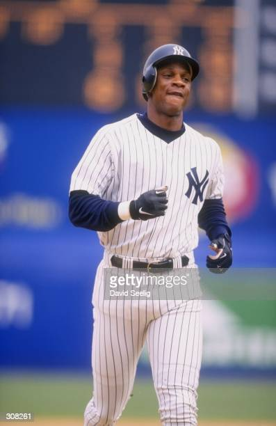 Outfielder Darryl Strawberry of the New York Yankees in action during a game against the Anaheim Angels at Shea Stadium in Flushing New York The...