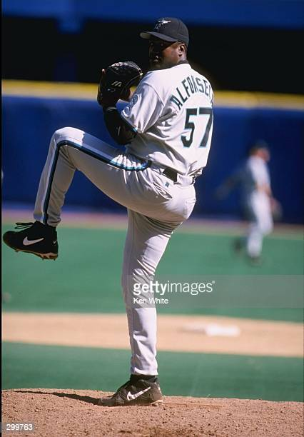 Pitcher Antonio Alfonseca of the Florida Marlins in action during a game against the Pittsburgh Pirates at Three Rivers Stadium in Pittsburgh...