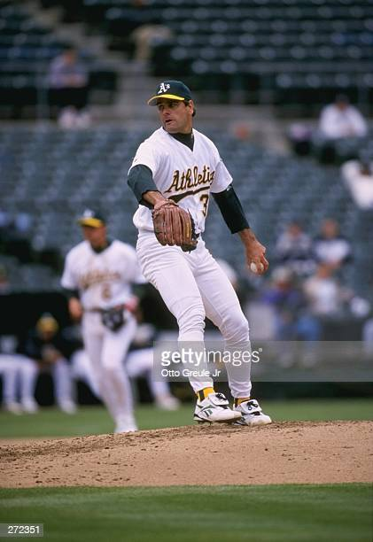 Pitcher Kenny Rogers of the Oakland Athletics in action during a game against the Boston Red Sox at the Oakland Coliseum in Oakland California The...