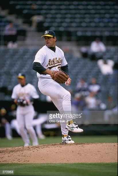 Pitcher Kenny Rogers of the Oakland Athletics in action during a game against the Boston Red Sox at the Oakland Coliseum in Oakland, California. The...