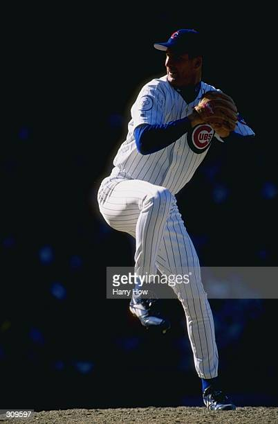 Pitcher Mark Clark of the Chicago Cubs in action during a game against the Los Angeles Dodgers at Wrigley Field in Chicago Illinois The Dodgers...