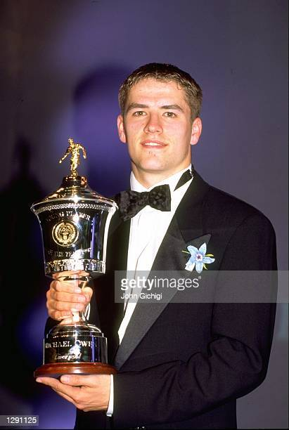 Portrait of Michael Owen of Liverpool after receiving the Young Player of the Year trophy at the PFA Awards Mandatory Credit John Gichigi/Allsport