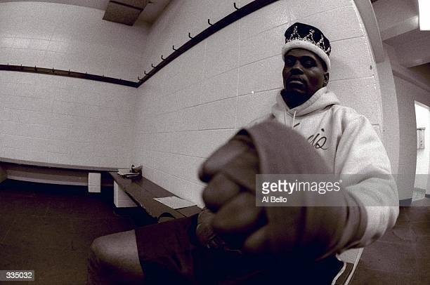 Unidentified fighter relaxing in the dressing room during the Toughman Contest in Kalamazoo, Michigan. Mandatory Credit: Al Bello /Allsport