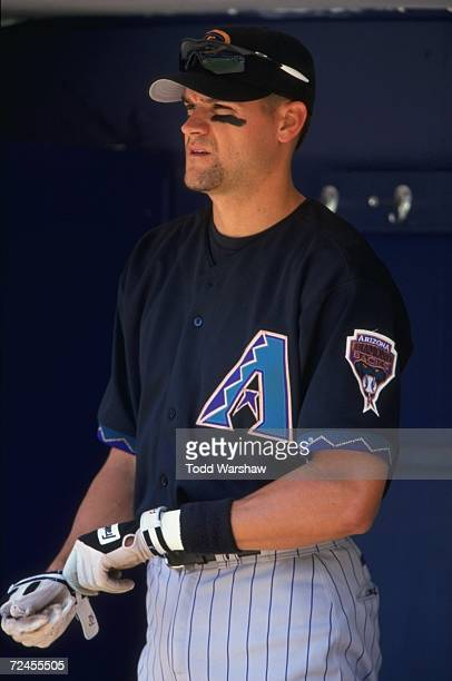 A close up of Andy Fox of the Arizona Diamondbacks as he looks on from the dug out during the game against the San Diego Padres at the Qualcomm...