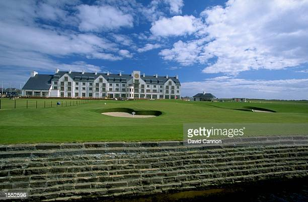 A general view of the 18th green clubhouse and new hotel at the Carnoustie Golf Club in Scotland Mandatory Credit David Cannon/Allsport
