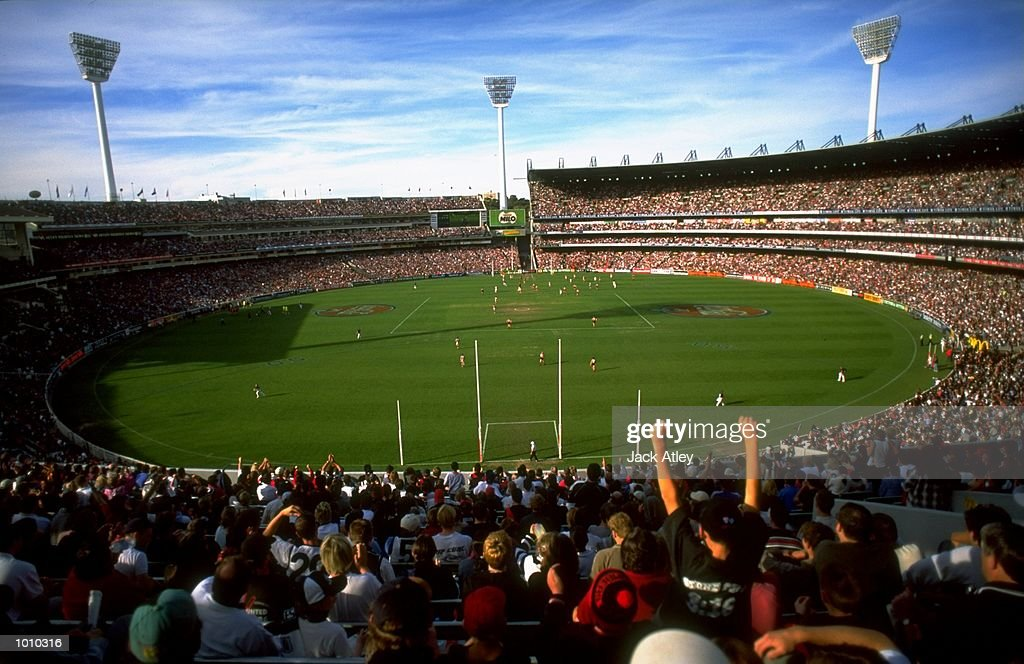 A view of the crowd during the AFL Premiership Round 5 match between the Collingwood Magpies and the Essendon Bombers at the MCG, Melbourne, Australia. The Anzac Day game finished with Essendon (108) defeating Collingwood (100). \ Mandatory Credit: Jack Atley /Allsport