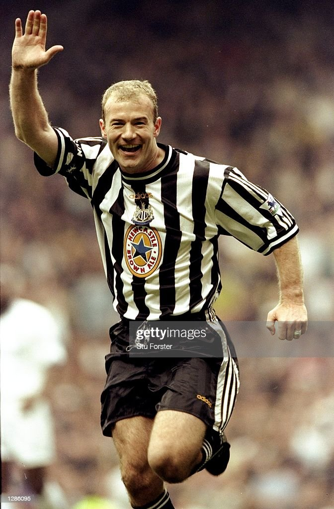 Alan Shearer of Newcastle United celebrates one of his two goals in the FA Cup semi-final against Tottenham Hotspur at Old Trafford in Manchester, England. Newcastle won 2-0 after extra-time. \ Mandatory Credit: Stu Forster /Allsport