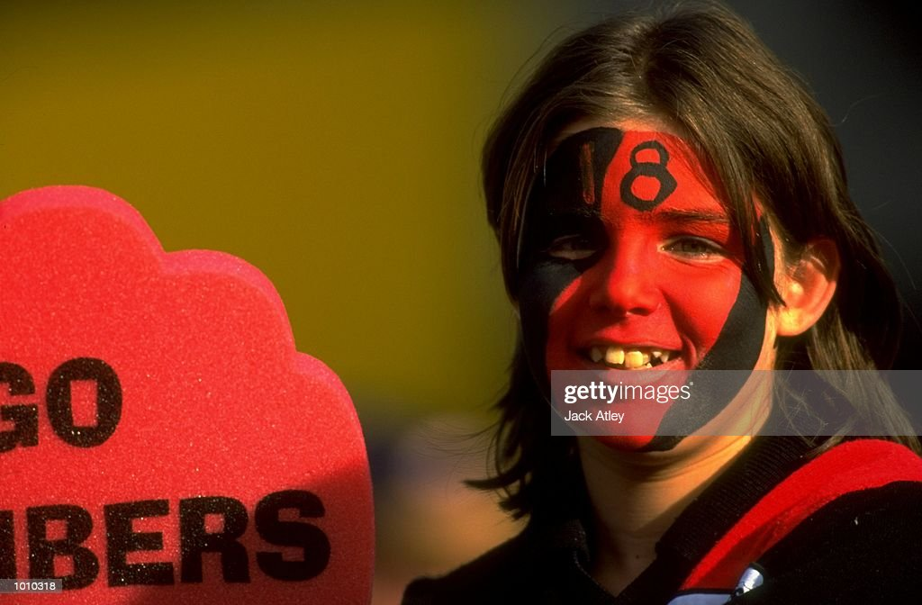 An Essendon Bombers fan during the AFL Premiership Round 5 match against the Collingwood Magpies at the MCG, Melbourne, Australia. The Anzac Day game finished with Essendon (108) defeating Collingwood (100). \ Mandatory Credit: Jack Atley /Allsport