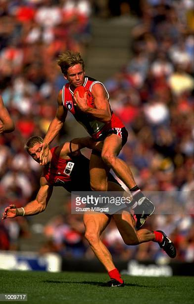 Andrew Thompson of St Kilda jumps to mark the ball during the Round 2 AFL Football match against Melbourne played at Waverley Park in Moorabbin...