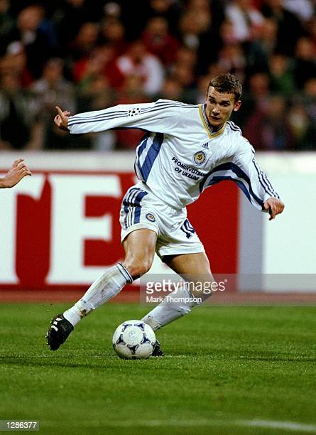 Andrii Shevchenko of Dynamo Kiev on the ball against Bayern Munich in the UEFA Champions League semifinal second leg match at the Olympiastadion in...