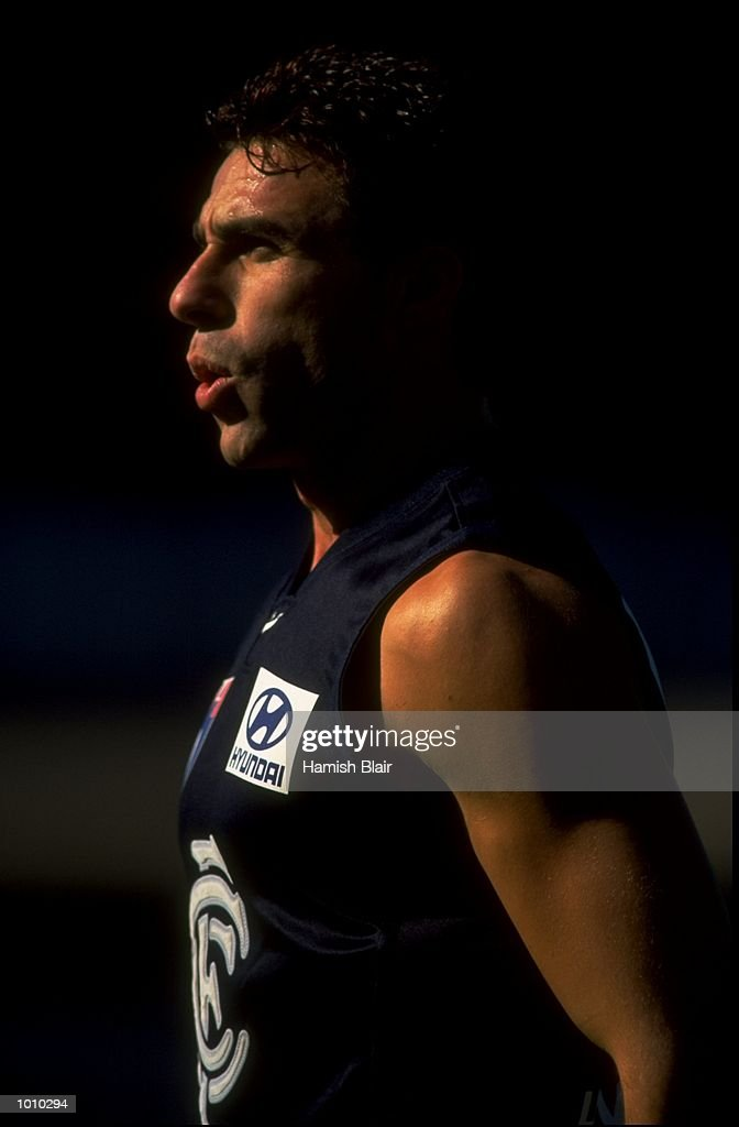 Ang Christou of the Carlton Blues in action during the AFL Premiership Round 5 match against the Geelong Cats at the Optus Oval, Melbourne, Australia. The Geelong Cats (115) defeated the Carlton Blues (65). \ Mandatory Credit: Hamish Blair /Allsport