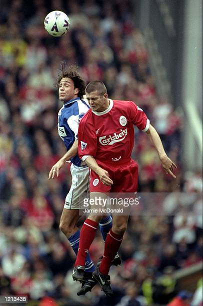 Ashley Ward of Blackburn Rovers in action against Dominic Matteo of Liverpool during the FA Carling Premiership match against Liverpool played at...