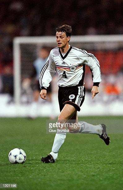 Christian Worns of Germany on the ball against Scotland in the International Friendly at the Weserstadion in Bremen Germany Scotland won 10 Mandatory...