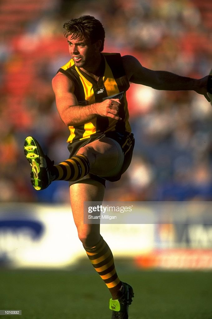 Daniel Harford of the Hawthorn Hawks in action during the AFL Premiership Round 5 match against the West Coast Eagles at Waverley Park, Melbourne, Australia. The game finished with West Coast (94) defeating Hawthorn (64). \ Mandatory Credit: Stuart Milligan /Allsport