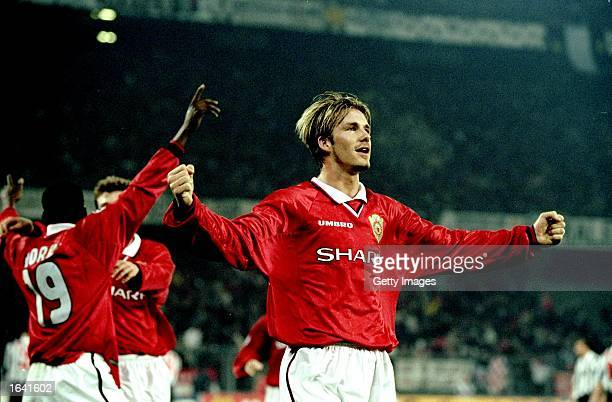 David Beckham of Manchester United celebrates victory over Juventus in the UEFA Champions League semifinal second leg match at the Stadio delle Alpi...