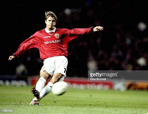 David Beckham of Manchester United in action against Juventus in the UEFA Champions League semifinal first leg match at Old Trafford in Manchester...
