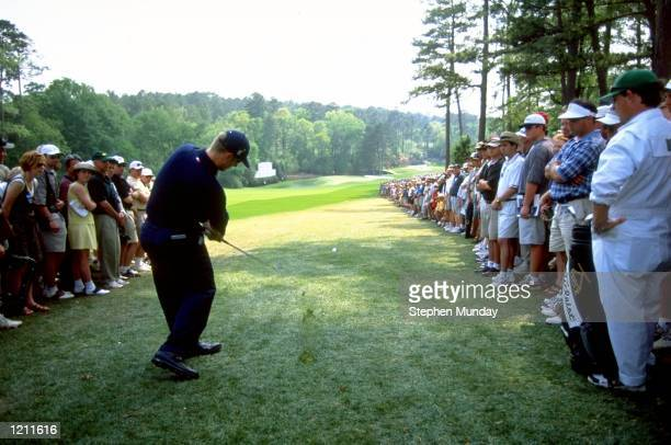 David Duval of the USA plays from the rough on the 11th hole during the 1999 US Masters at the Augusta National GC in Augusta Georgia USA Mandatory...