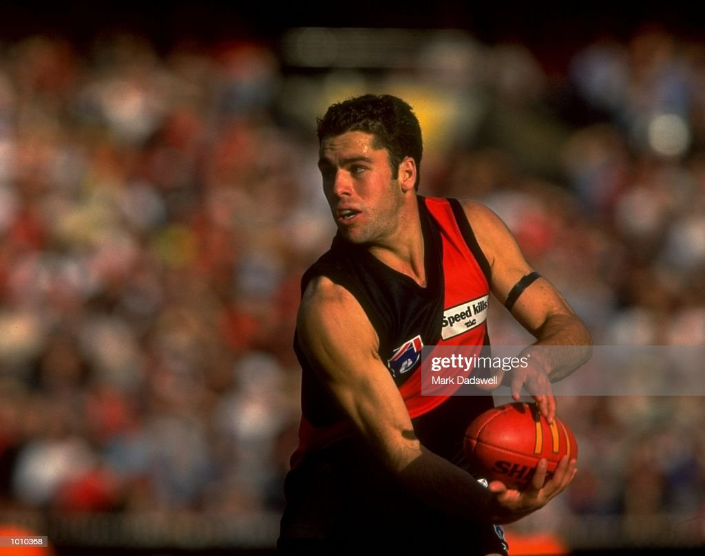 Dean Solomon of the Essendon Bombers in action during the AFL Premiership Round 5 match against the Collingwood Magpies at the MCG, Melbourne, Australia. The Anzac Day game finished with Essendon (108) defeating Collingwood (100). \ Mandatory Credit: Mark Dadswell /Allsport