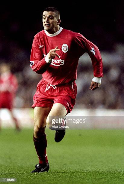 Dominic Matteo of Liverpool rushes forward during the FA Carling Premiership match against Leeds United at Elland Road in Leeds, England. The game...