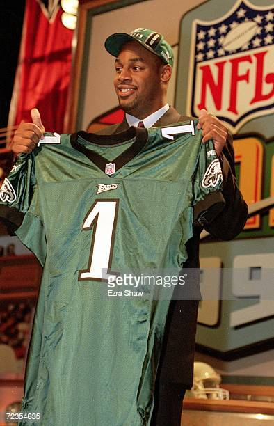 Donovan McNabb of the Philadelphia Eagles holds up his Eagles jersey during the NFL Draft at Madison Square Garden in New York New York Mandatory...
