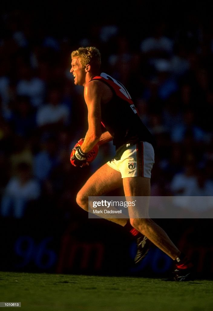 Dustin Fletcher of the Essendon Bombers in action during the 1999 AFL Premiership Round 4 match, where the West Coast (97) defeated Essendon (23) at the Subiaco Oval, Perth, Australia. \ Mandatory Credit: Mark Dadswell /Allsport