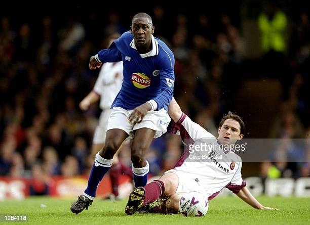 Emile Heskey of Leicester City is challenged by Frank Lampard of West Ham United in the FA Carling Premiership match at Filbert Street in Leicester...