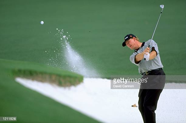 Ernie Els of South Africa plays out a bunker during the 1999 US Masters at the Augusta National GC in Augusta Georgia USA Mandatory Credit David...