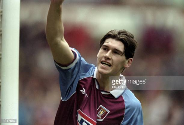Gareth Barry of Aston Villa celebrates his goal during the FA Carling Premiership match against Nottingham Forest played at Villa Park in Birmingham,...