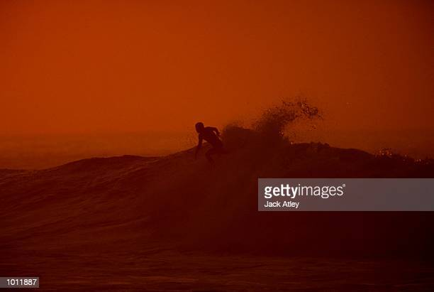 General view of the action during the 1999 Rip Curl Pro Surfing Championships from Bells Beach Victoria Australia Mandatory Credit Jack Atley...