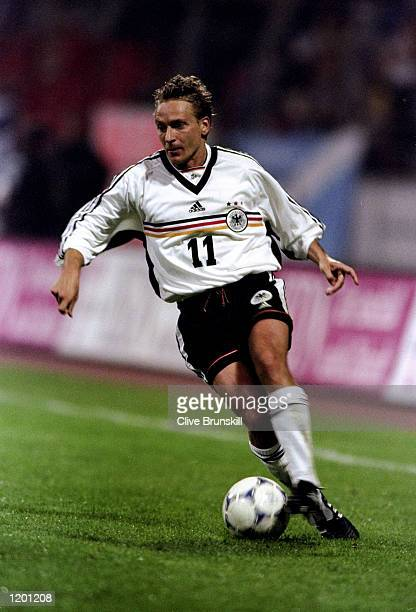 Horst Heldt of Germany on the ball against Scotland in the International Friendly at the Weserstadion in Bremen Germany Scotland won 10 Mandatory...